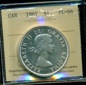 Click now to see the BUY IT NOW Price! 1961 CANADA QUEEN ELIZABETH II SILVER DOLLAR ICCS CERTIFIED PL 66; CAMEO