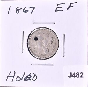 1867  NICKEL THREE CENT PIECE   EF   J482