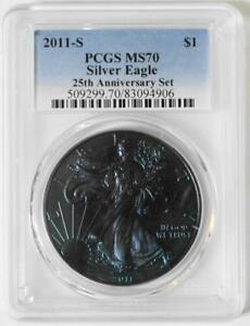 2011 S $1 25TH ANNIVERSARY SILVER EAGLE SET PCGS MS70  TONED COIN IN 70