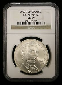 2009 LINCOLN BICENTENNIAL SILVER ONE DOLLAR NGC MS69