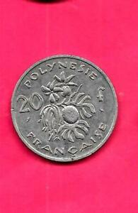 FRENCH POLYNESIA KM9 1972 VF VERY IFNE NICE OLD VINTAGE LARGE 20 FRANCS COIN