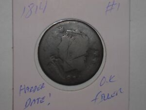 1814 1C CLASSIC HEAD LARGE CENT  HARDER DATE FILLER LOT 1
