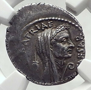 Click now to see the BUY IT NOW Price! JULIUS CAESR PORTRAIT APRIL 44BC AUTHENTIC ANCIENT SILVER ROMAN COIN NGC I72395
