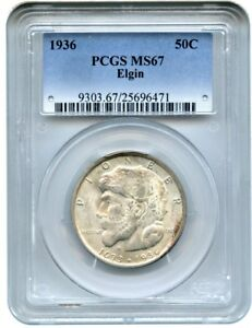 Click now to see the BUY IT NOW Price! 1936 ELGIN 50C PCGS MS67   SILVER CLASSIC COMMEMORATIVE