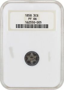 Click now to see the BUY IT NOW Price! 1858 3CS NGC PR 66  OH  OLD NGC HOLDER  DATE   3 CENT SILVER