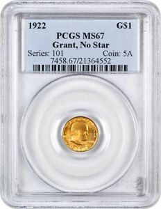 1922 GRANT WITHOUT STAR G$1 PCGS MS67   CLASSIC COMMEMORATIVE   GOLD COIN