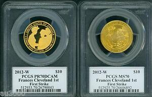 Click now to see the BUY IT NOW Price! 2012 W $10 GOLD SPOUSE FRANCES CLEVELAND 1 PCGS PR70 PF70 MS70 2COIN FS MERCANTI