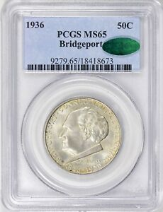 1936   BRIDGEPORT  COMMEMORATIVE 50C HALF DOLLAR      PCGS MS65 CAC