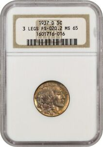 Click now to see the BUY IT NOW Price! 1937 D 3 LEGGED 5C NGC MS65   POPULAR  VARIETY   BUFFALO NICKEL