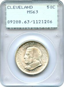 1936 CLEVELAND 50C PCGS MS63  OGH RATTLER HOLDER    SILVER CLASSIC COMMEMORATIVE
