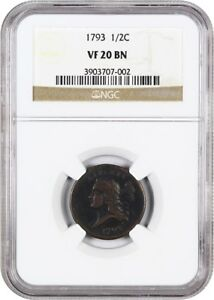 1793 1/2C NGC VF20 BN   WHOLESOME EARLY HALF CENT   HALF CENT