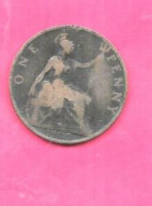 GREAT BRITAIN GB UK KM790 1900 FINE NICE OLD ANTIQUE VINTAGE BRONZE PENNY COIN