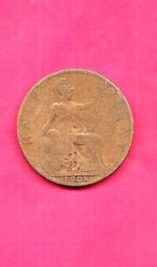 GREAT BRITAIN GB KM793.2 1908 FINE NICE OLD VINTAGE ANTIQUE 1/2 PENNY COIN