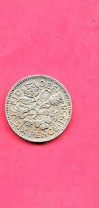GREAT BRITAIN GB UK 6 PENCE KM903 1958 VF VERY FINE NICE OLD VINTAGE COIN