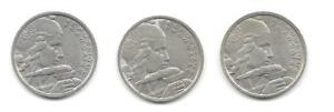 LOT OF 3 FRANCE/FRENCH 100 FRANCS COINS   CNS 1090
