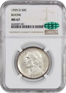 Click now to see the BUY IT NOW Price! 1935 D BOONE 50C NGC/CAC MS67   LOW MINTAGE ISSUE   SILVER CLASSIC COMMEMORATIVE