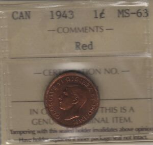 1943 CANADA SMALL CENT COIN. RED ICCS MS 63
