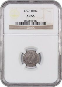 Click now to see the BUY IT NOW Price! 1797 H10C NGC AU55  15 STARS   EARLY HALF DIME   EARLY HALF DIMES