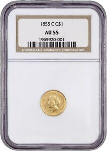 Click now to see the BUY IT NOW Price! 1855 C G$1 NGC AU55  TYPE 2   C MINT GOLD DOLLAR   1 GOLD COIN