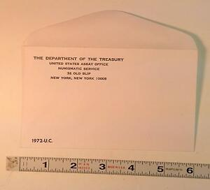 COIN SUPPLIES  1972 US UNC. MINT SET ENVELOPE NEW SLIGHT GLUE FLAW FREE US SHIP