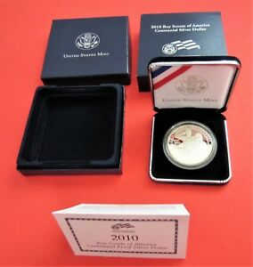 BOY SCOUTS OF AMERICA 2010 CENTENNIAL PROOF SILVER DOLLAR US MINT WITH COA