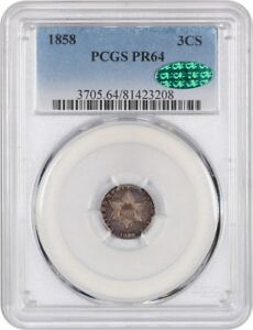 Click now to see the BUY IT NOW Price! 1858 3CS PCGS/CAC PR 64   3 CENT SILVER    LOW MINTAGE DATE