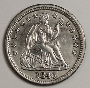 1845 SEATED LIBERTY HALF DIME.  ERROR.  RE PUNCHED DATE.  A.U.  122626