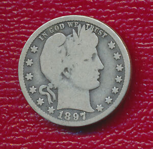 1897 O BARBER SILVER QUARTER   TONING ACCENTS FEATURES