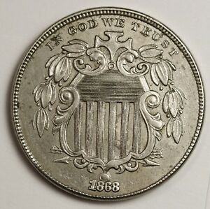 1868 SHIELD NICKEL DATE SHIFTED UP INTO BALL ON LOWER SHIELD NATURAL AU.  129280