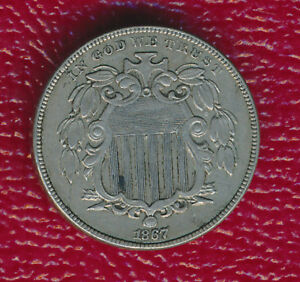 1867 NO RAYS SHIELD NICKEL   LY FINE COIN