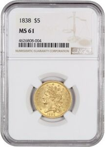 1838 $5 NGC MS61   CLASSIC HEAD GOLD TYPE COIN   EARLY HALF EAGLE   GOLD COIN