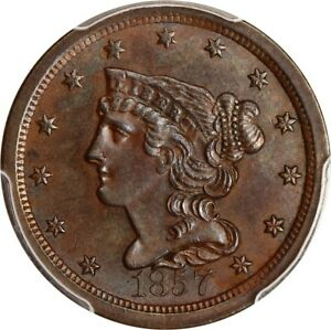 1857 1/2C PCGS MS64 BN   SLIGHTLY BETTER DATE   HALF CENT   SLIGHTLY BETTER DATE