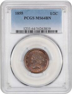 1855 1/2C PCGS MS64 BN   PRETTY    HALF CENT   PRETTY