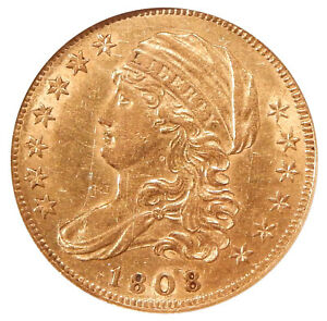 1808/7 $5 NGC AU 58    CAPPED BUST GOLD HALF EAGLE OVERDATE VARIETY