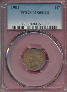 1908 INDIAN HEAD CENT   PCGS CERTIFIED MS 63 RED BROWN