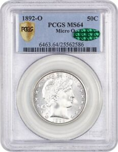 Click now to see the BUY IT NOW Price! 1892 O 50C PCGS/CAC MS64  MICRO O  BLAZING WHITE    BARBER HALF DOLLAR