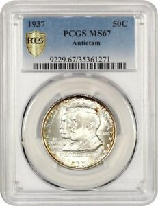 1937 ANTIETAM 50C PCGS MS67   LOW MINTAGE ISSUE   SILVER CLASSIC COMMEMORATIVE