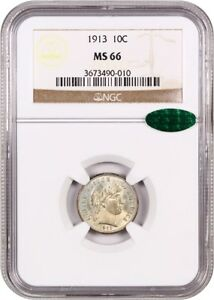 1913 10C NGC/CAC MS66   SUBDUED LUSTER   BARBER DIME   SUBDUED LUSTER