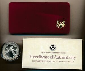 1988 US OLYMPIC COIN COMMEMORATIVE SILVER DOLLAR PROOF COIN
