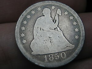 1850 P SILVER SEATED LIBERTY QUARTER GOOD DETAILS