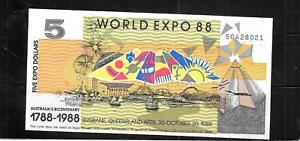 AUSTRALIA EXPO 1988 AU UNCIRCULATED $5 DOLLAR BANKNOTE PAPER MONEY CURRENCY NOTE