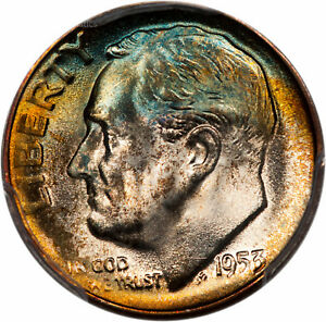 Click now to see the BUY IT NOW Price! 1953 S ROOSEVELT DIME 10C PCGS MS68  36844254  GORGEOUS RAINBOW TONING