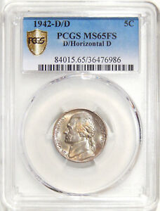 Click now to see the BUY IT NOW Price! 1942 D/D 5C PCGS MS 65FS D/HORIZONTAL D   MAJOR JEFFERSON NICKEL RPM VARIETY