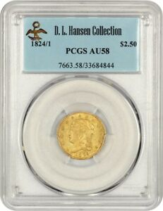 Click now to see the BUY IT NOW Price! 1824/1 2 1/2 PCGS AU58   2.50 EARLY GOLD COIN   LOW MINTAGE