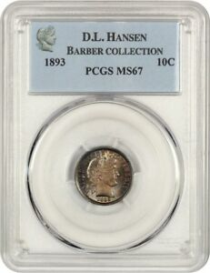 Click now to see the BUY IT NOW Price! 1893 10C PCGS MS67   BARBER DIME   BEAUTIFUL HIGHLIGHTS