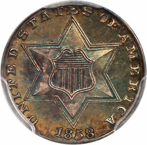 Click now to see the BUY IT NOW Price! 1858 THREE CENT SILVER 3CS PCGS PR66  36812633  GORGEOUS TONED PROOF