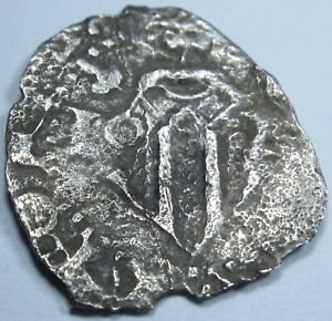 VALENCIA 1620S SPANISH SILVER 1 REAL PIECE OF 8 REALES COLONIAL COB PIRATE COIN