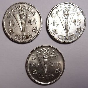CANADA 5 CENTS COINS 1944 1945 2005 CANADIAN NICKEL WW2 VICTORY COIN