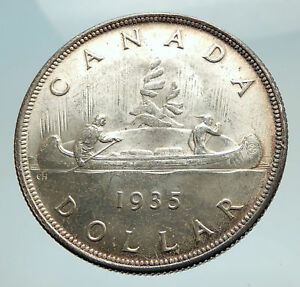 Click now to see the BUY IT NOW Price! 1935 CANADA UNDER UK KING GEORGE V VOYAGERS GENUINE SILVER DOLLAR COIN I74507