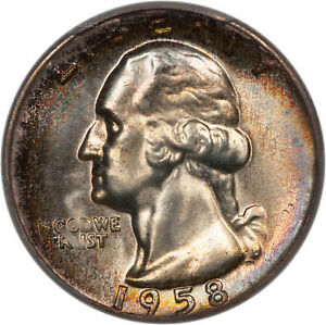 Click now to see the BUY IT NOW Price! 1958 WASHINGTON QUARTER 25C PCGS MS67    36192384  TONED PLUS TYPE B REV FS 901
